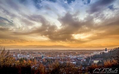 Sonnenuntergang über Graz